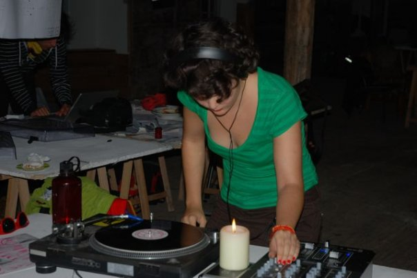 Katharina spinning some tunes. This is a place where you try new things.